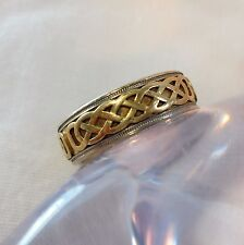 14k Gold Men's Celtic Design Band Ring Yellow & White Gold *13.3 Grams* Size 12