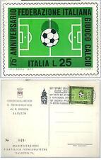 1973 75° ANNIVERSARIO FIGC Cartolina annullo postale francobollo calcio