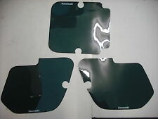 Number Backgrounds Kawasaki KX 125 250 500 1987 GREEN Black Stripe Decals Plates
