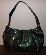 SIMPLY VERA WANG Dark Green Croc Texture HOBO BAG ~ Pristine Cond.!!