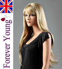 Ladies Long Blonde Straight Full Wig Light Ash Blonde Side Fringe Fashion Wig
