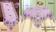 Deluxe Purple Rose Table Runner Doily 68 x 13 Embroidered Machine Wash NEW