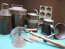 Antique Primitive Kitchenware Tole Canister TIn Tea Coffee Pudding Mold Can 9 pc