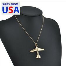 USA Seller- Gold Plated Large Airplane Pendant & Chain Necklace- Free Gift Bag