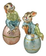 Foil Bunny Rabbits w Eggs S/2 Bethany Lowe lo5551 NEW Vintage Style Easter decor