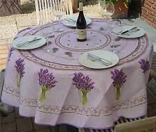 Tischdecke Provence 180 cm rund flieder aus Frankreich, pflegeleicht, bügelfrei