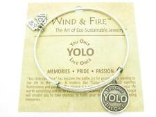 Wind and Fire You Only Live Once YOLO Charm Wire Bangle Stackable Bracelet USA