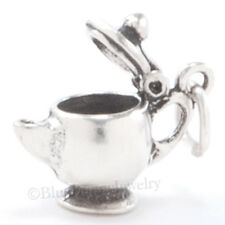 Moveable 3D TEA POT KETTLE Teapot Charm Pendant 925 STERLING SILVER Lid Opens