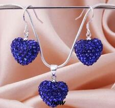 SHAMBALLA Heart Drop Earrings Necklace & Pendent Set COLOUR ROYAL BLUE