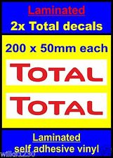 Laminated 2x Total oil rally race bike sticker decals car van vw truck mini slot