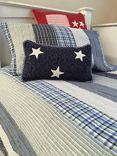 Blue & White King Single Coastal Stripe Cotton Quilted Bedcover Coverlet Set