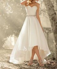 High Low tea length Wedding Dress Bridal Gown Custom Size 6 8 10 12 14 16 18 20+