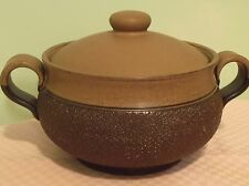 "Denby England Cotswold 7"" Casserole Dish with Lid, Brown Textured"