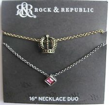 Rock & Republic Crown & Pink Diamond Shaped Crystal Necklace Duo $26 FREE S&H