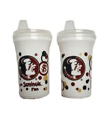 Florida State Seminoles FSU Baby Sippy Cups Set of 2 Sippy Cups w/ Snap Lids