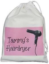 PERSONALISED - HAIRDRYER BAG - pink design - SMALL NATURAL COTTON DRAWSTRING BAG