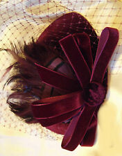 VINTAGE 1940s Style Fascinator Veil Dress Hat Velvet AUBERGINE WEDDING HAT NEW