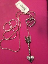 """Betsey Johnson """"Hearts and Arrows"""" Pave Long Lariat Necklace, 33"""" B8"""