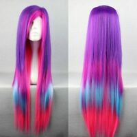 Hot Sell! Lolita Long Multi-Color Mixed purple Straight Cosplay wigs+wig cap