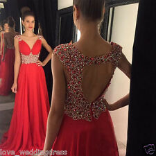 Sexy Beaded Red Long Chiffon Pageant Prom Dress Formal Evening Party Prom Gown