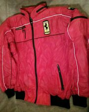 Rad Vintage 70s 80s Style Auto racing Ferrari Patch red vinyl Jacket  hood L