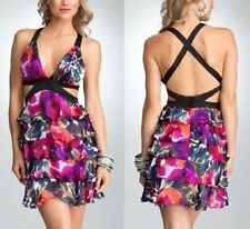 NWT Bebe black purple floral multi cutout deep v cross back top dress S small 4