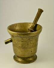 VINTAGE BIG ANTIQUE SOLID BRONZE PESTLE AND MORTAR