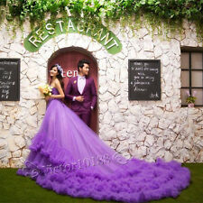 2014 New Purple Long Tail Wedding Dresses Prom Party Quinceanera Dress Ball Gown