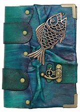 Fish Pendant Blue Handmade Leather Journal / Notebook / Sketchbooks / Dairy