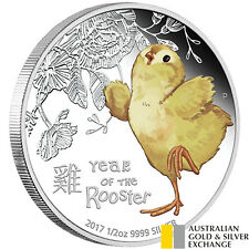 Australian Lunar 2017 Year of the Rooster Baby Rooster 1/2oz Silver Proof Coin