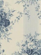 Wallpaper Designer Cottage Gray Blue Floral Rose Stripe on Off White