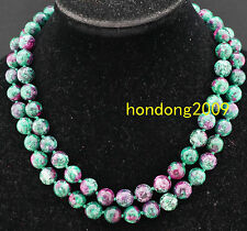 Long Natural 10mm  RUBY IN ZOISITE Abacus round Gemstone necklace 36''