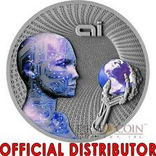 Niue Island 2016 ARTIFICIAL INTELLIGENCE CODE OF THE FUTURE $2 Silver coin 2 oz