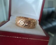 Vintage 9ct Rose Gold Patterned Wedding Band Ring h/m 1919 Birmingham -  size Q