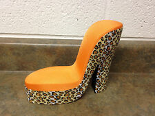 Barbie Doll Orange High Heel Shoe Animal Print Chair Living Room Furniture Rare