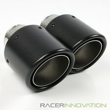 """2PC 2.5"""" Inlet/4"""" Outlet Dry Carbon Fiber Bolt On Muffler Exhaust Tip Tail Pipe"""