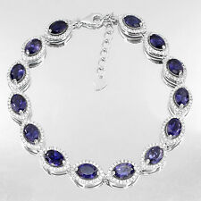 Sterling Silver 925 Genuine Natural Iolite Tennis Bracelet 7.5 to 8.5 Inches