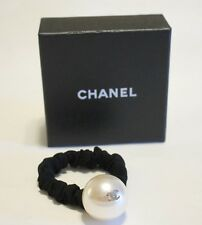 Chanel Large Pearl & Gold CC Hair Band Scrunchie AUTHENTIC