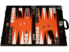 "Wycliffe Brothers 21"" Tournament Backgammon Set- Black Croco Board, Orange Field"