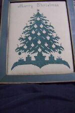 "Christmas Tree Cross-Stitch Silhouette Completed/Framed Rustic""Merry Christmas"