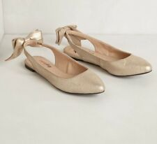 NEW Anthropologie Farylrobin Daisy Bow Slingback Shoes Size 6 Gold