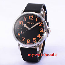 46mm parnis black dial orange marks rubber strap 6497 hand winding mens watch274
