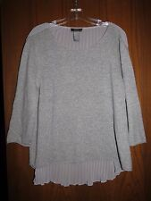 Neiman Marcus $345 Gray 100% Cashmere Pleated Back Hi-Lo Hem Sweater XL