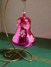 """Vintage Italy 5"""" HOT PINK BELL MERCURY GLASS CHRISTMAS ORNAMENT Mica Atomic"""