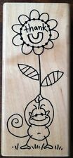 Monkey Wood Mounted Rubber Stamp N211 Changito Thank U You Stampendous RARE