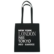 New York, London, Parigi, Tokyo NUOVO SANDEZ - Borsa Di Iuta - Colore: nero