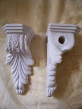 2 x Architectural ornate plaster curtain pole corbels wall decor plaques new