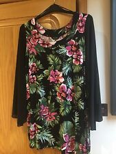 Pretty Black And Pink Long Jersey Tunic Top , Marina Kaneva, Nwts, Size 16