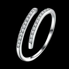 Women 925 Sterling Silver Gemstone Band Solid Open Adjustable Ring Jewelry Gift