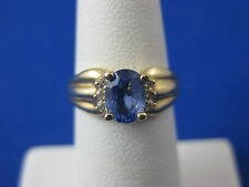 VINTAGE 14K YELLOW GOLD SAPPHIRE & DIAMOND RING SIZE 5.5